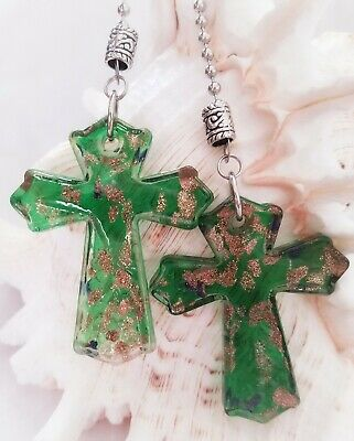 Large Green and Gold Glass Cross Ceiling Fan Pull Chain Pair