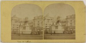 Parigi-Place-Dei-Victoires-Francia-Foto-Stereo-L5n65-Vintage-Albumina-c1868