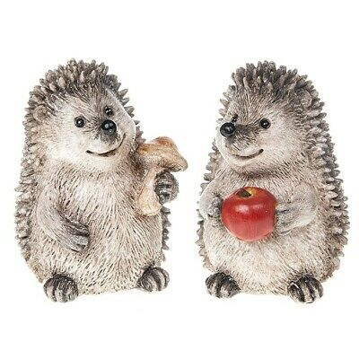 Cute Set Of  2 Happy Hedgehogs Figurine Ornament Decorative Gift
