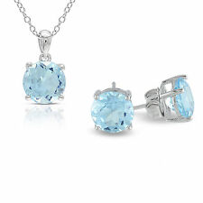 Amour Sterling Silver 6.35 ct TGW Sky Blue Topaz Earring Necklace Jewelry Set