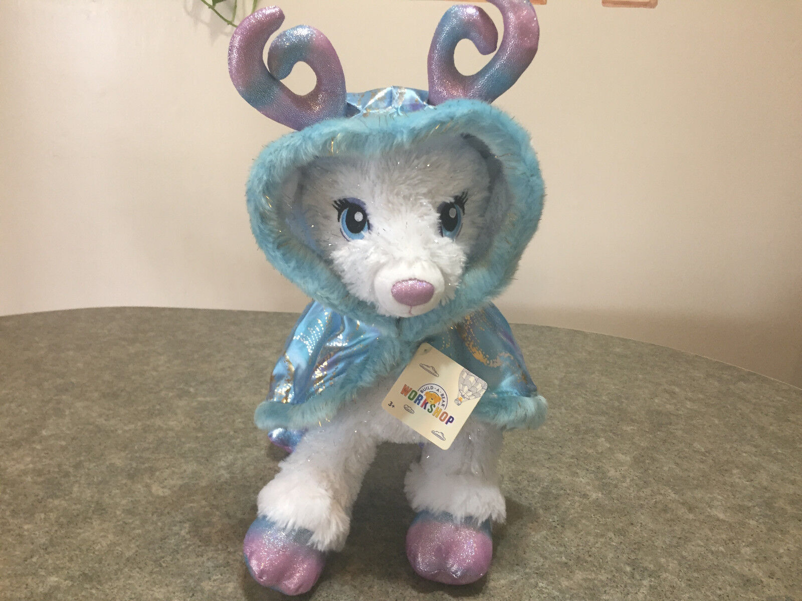 NEW Build a Bear Color Glow Glisten Reindeer Light Up Antlers & Starry blu Cape