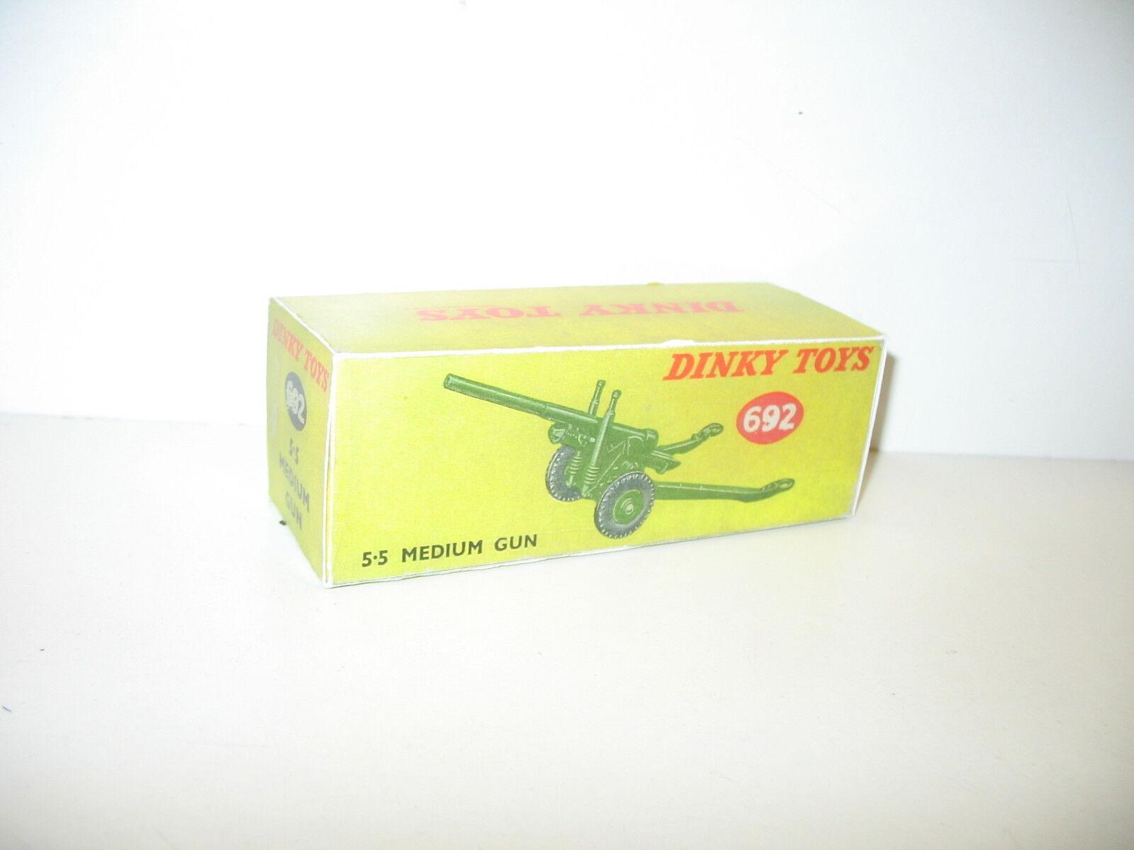 N59,  BOITE militaire canon médium gun, repro DINKY (yellow ou orangée)