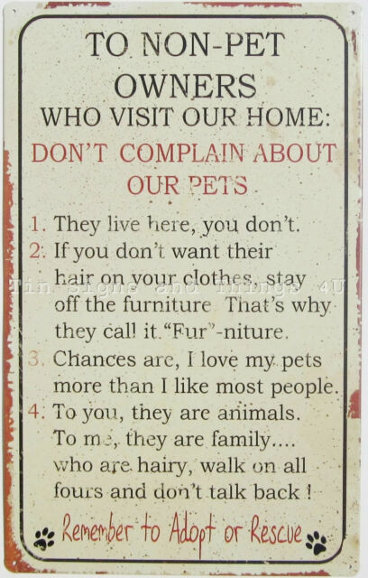 Rules To Non Pet Owners TIN SIGN dog cat lover gift funny metal wall decor OHW