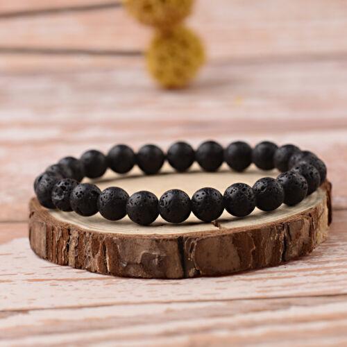 Lava Rock Double Buddha Crown OM Beaded Charm Women DIY Handmade Bracelets Gift