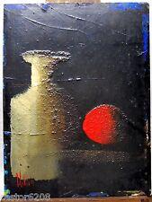TABLEAU FIGURATIF NATURE MORTE signé 1991 29,5x22cm technique mixte