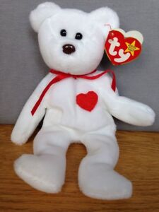 Ty Valentino Beanie Baby Bear with Errors - RARE! Red Heart White ... c0a1f6b6325e