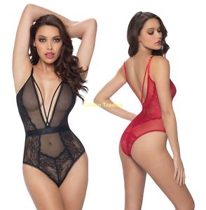 Sexy-Women-Lace-Teddies-Lingerie-Set-Deep-V-Leotard-Bodysuit-Babydoll-Nightwear