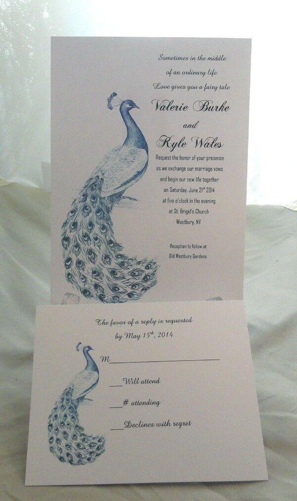 100 Paon Mariage Invitations + 100 RSVP Cartes personnalisées et personnalisé 4 U