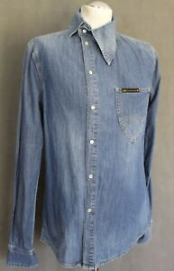 VIVIENNE-WESTWOOD-ANGLOMANIA-Mens-OSSIE-CLARK-Blue-Denim-SHIRT-Size-M-Medium