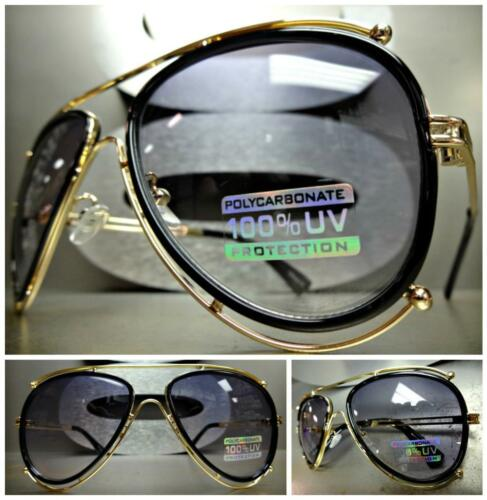 CLASSIC VINTAGE RETRO Style SUN GLASSES SHADES Unique Gold /& Black Fashion Frame