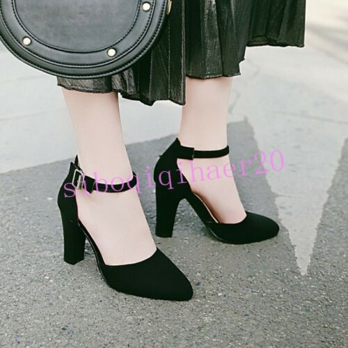 Korean Womens Shoes Faux Suede Hollow Out Pumps High Heel Ankle Strap Pointy Toe