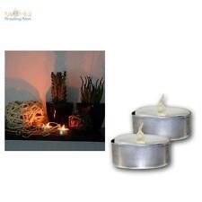 2er Set LED Teelichter weiß/Blech flackernd, Teelicht elektrisch Kerze Kerzen