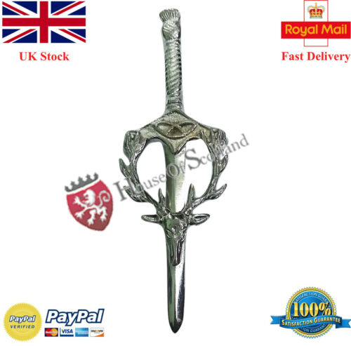 "Scottish kilt PIN Stag head Finition Chrome 3.5/"" Celtique Chardon Hilt Broche"