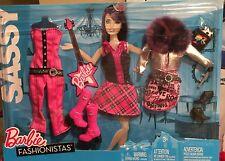 Barbie Sassy Fashions Hot Pink Plaid Skirt Fur Collar Jacket Jumpsuit Boots Mic
