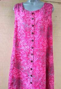 reputable site 7c128 877b8 Details about Batik Bali Indonesia Pink Fern Leaf Sleeveless Long Dress  Hippie Boho NWT -S