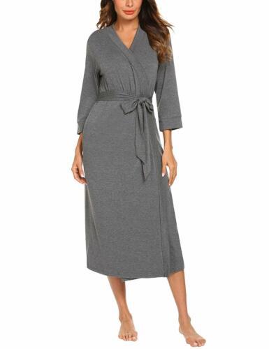 Women Kimono Robes Cotton Lightweight Long Robe Knit Bathrobe Soft Sleep