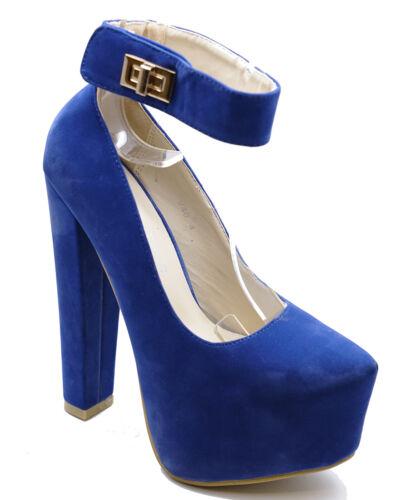 Bleu Femmes Slip-on Cour Plateforme Haute Talon Smart Cheville Sangle Chaussures Tailles 3-7