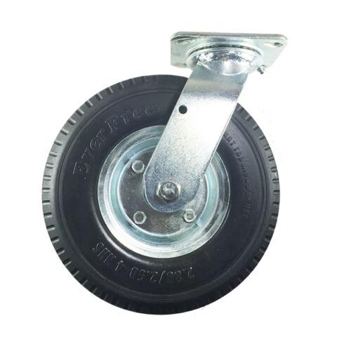 """Foam-Flat Free 8/"""" x 2-1//2/"""" Pneumatic Wheel Caster -2 Swivels /& 2 Swivels w//Brake"""