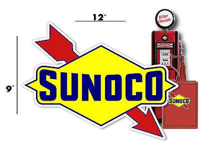 "SUNOC-4 12/"" BLUE SUNOCO GASOLINE GAS PUMP OIL TANK DECAL DX"