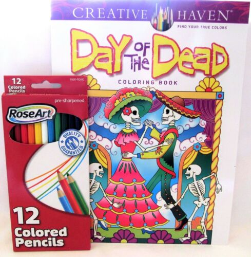 Day Of The Dead Adult Coloring Book Set With 12 ct Pencils Creative Haven