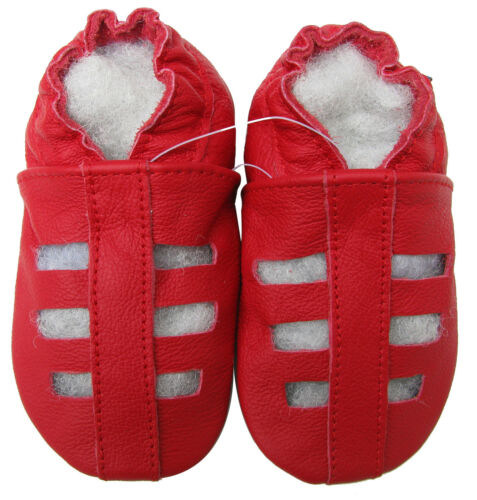 carozoo sandals red 2-3y soft sole leather toddler shoes