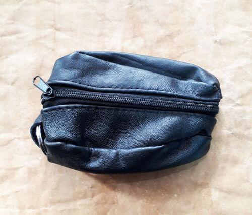 Uomo Donna 100 mm x 75 mm Soft Black Leather Coin Pouch borsa Wallet Zipper Purse