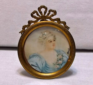 Antique-19th-C-Miniature-Watercolor-French-Woman-w-Ormolu-Frame