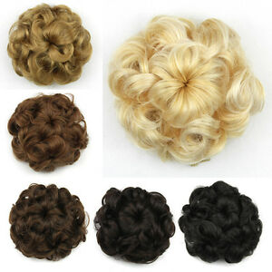 Details About Women Curly Hair Bun Chignons Hairstyles Short Hair Pieces Rubber Band In