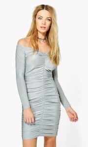 54de692346e9 Image is loading Boohoo-Womens-Mishi-Slinky-Off-Shoulder-Bodycon-Dress-
