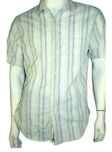 JULES Coupe Ajustée Taille L Superbe chemise manches courtes blanc bleu gris