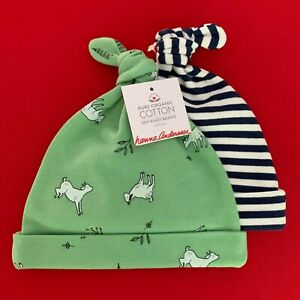 """Hanna Andersson Cute Baby """"TOP KNOT BEANIE"""" Set. Organic Cotton. XS. So Comfy!"""