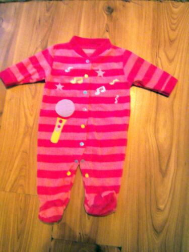 BABY GIRL FLEECE SLEEP SUIT BODY SUIT MUSICAL NEWBORN PINK ALL IN ONE