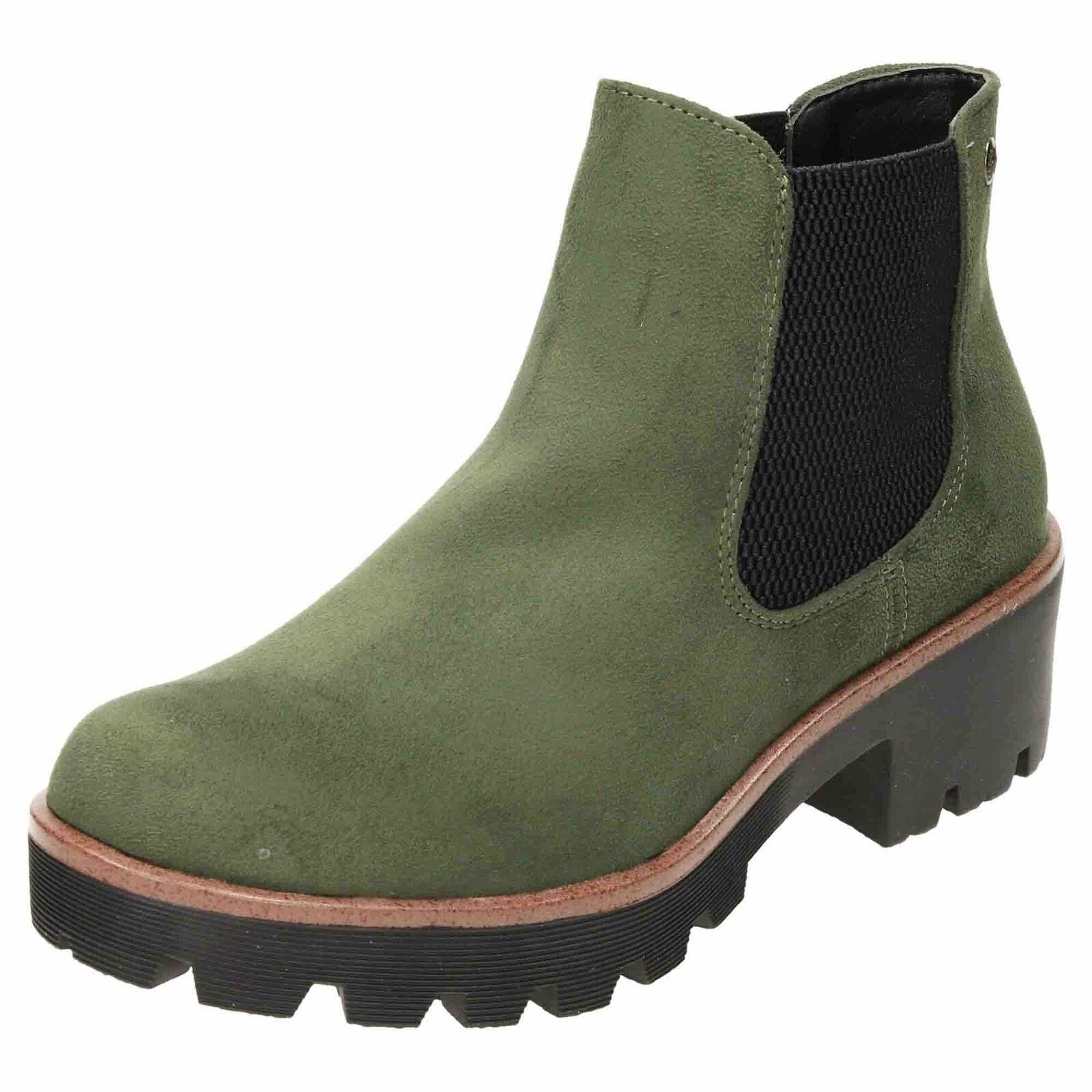 schuhe Flat Stiefel Ankle Suede Grün Chelsea Chunky Rieker