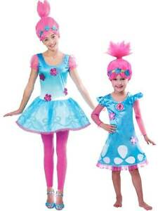 ac5c6a69555 Details about OFFICIAL UK Child Trolls Poppy Troll Fancy Dress Costume &  Wig Kids Girls Outfit