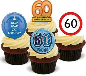 Image Is Loading 60TH BIRTHDAY MIX 12 STANDUPS Edible Cake Toppers