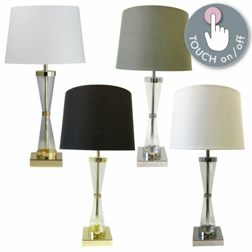Deco Modern Ribbed Glass Touch Lamp Bedside Light Modern Design Fabric Shade