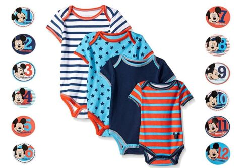Mickey Mouse Bodysuit Monthly Sticker Pictures Boys Baby Disney NB 3-6M 6-9M 12M