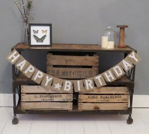 Image Is Loading Happy Birthday Hessian Burlap Rustic Vintage Banner Bunting