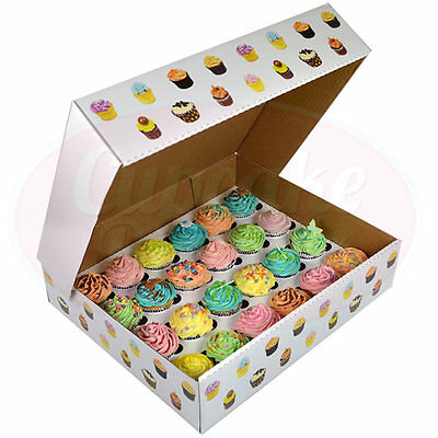 24 Deep Corrugated Cupcake Box Patterned (x10)