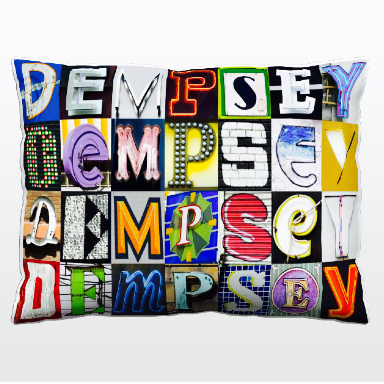 Personalized Pillow featuring the name DEMPSEY in photos of actual sign letters