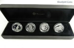 2012-HIGH-RELIEF-FOUR-Coin-Silver-Set-Dragon-Kookaburra-Koala-Kangaroo