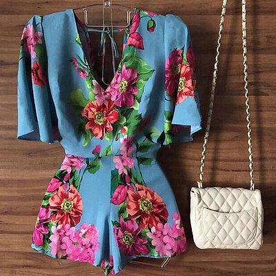 Summer Women Clubwear Playsuit Bodycon Party Floral Jumpsuit Romper Shorts HOT