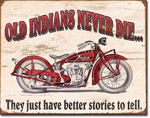 Jamais Die Métal Signe 400mm x 320mm sous Licence Vieux Indiens de Moto