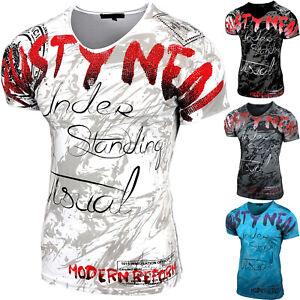 Herren V Neck Strass T Shirt Kurzarm Hemd Slim Design