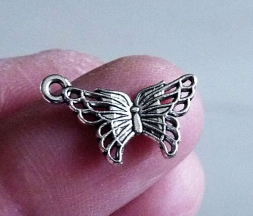 10x Butterfly Charm Pendant for Necklace Bracelet Earring Making Supplies Silver