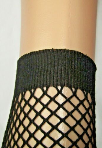 Black Ankle Fishnet Socks Seamless Ribbed Top One Size W1