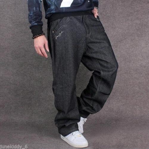 Mens Jeans Black Denim Baggy Loose Casual Fashion Pants Hip-Hop Punk Trousers