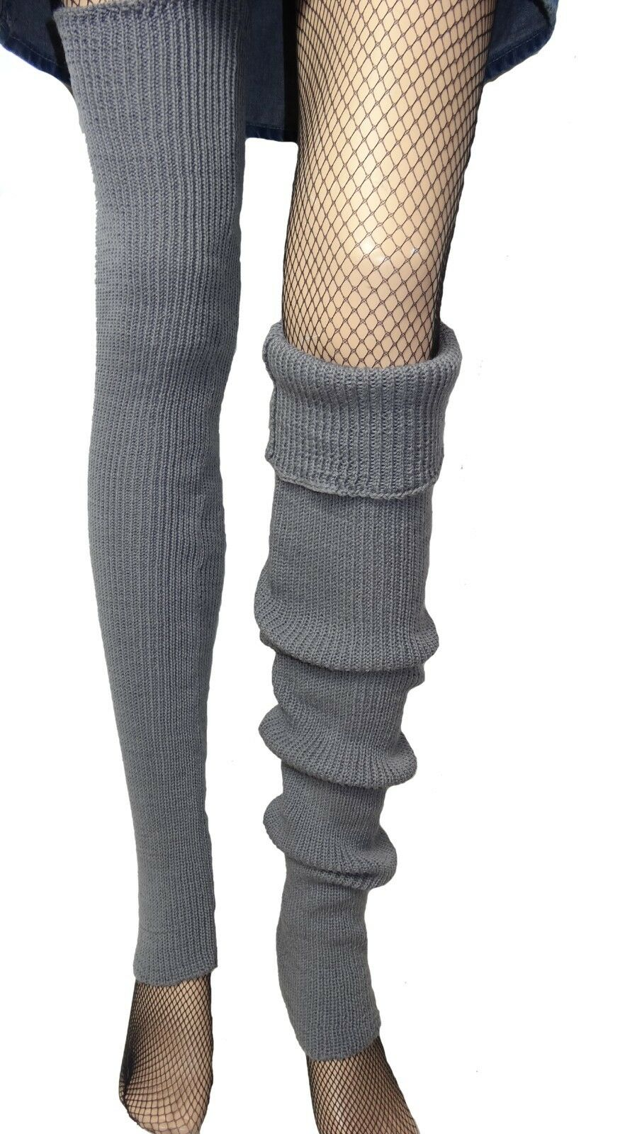 Handmade long wool blended leg warmers 28 in Grey one size leg warmer