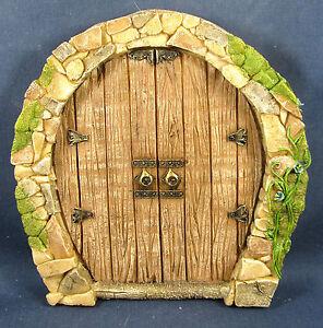 Enchanted fairy double door stone front w oak planks for Fairy front door