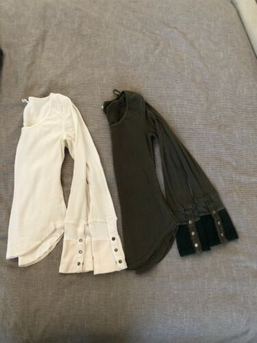 Free People Thermal Tops Bundle Off White and Army